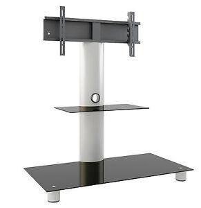 VCM TV-Standfuß mit Zwischenboden LED Ständer Rack Alu / Glas