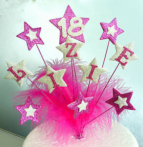 Star and Feathers Cake Topper  with Name & Age 18th 21st 40th 50th 60th 70th ...