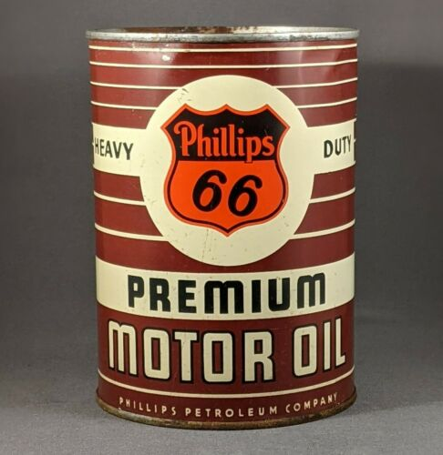 Vintage PHILLIPS 66 PREMIUM HEAVY DUTY Motor Oil - Full Quart Metal Can
