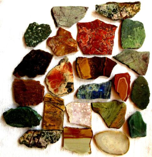 Misc Slabs - 2.75+ lbs - Turquoise - Chrysocolla - Jasper - Copper - Lot of 22