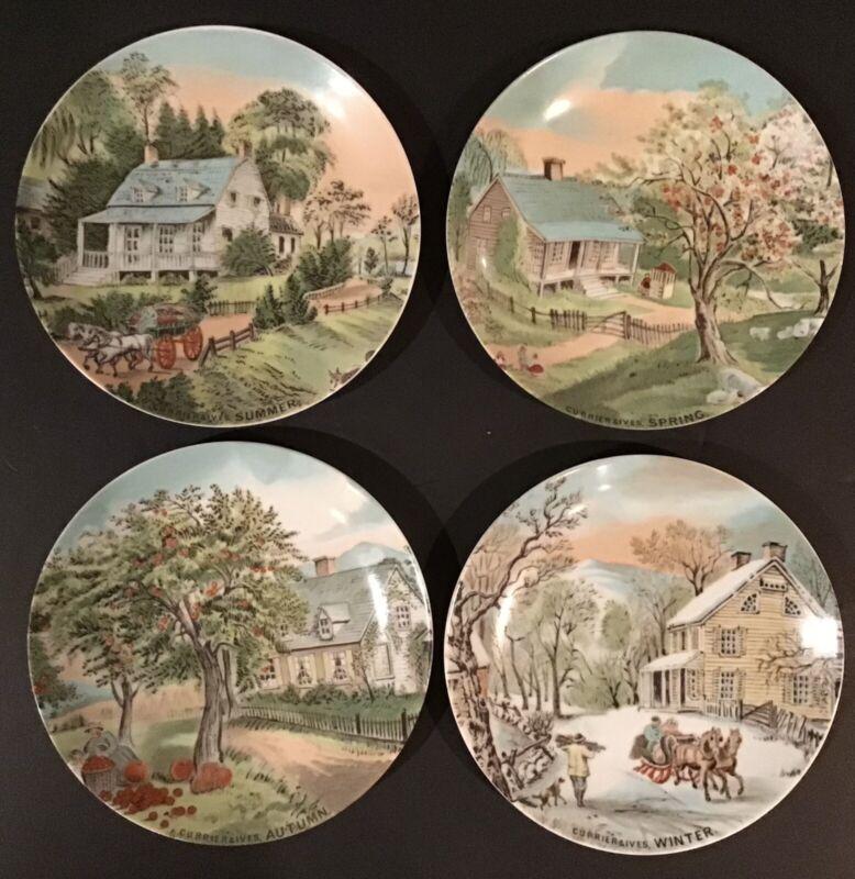 "Vintage Currier & Ives 4 Season Plates Collection 6.5"" Japan - Artmark Set Of 4"