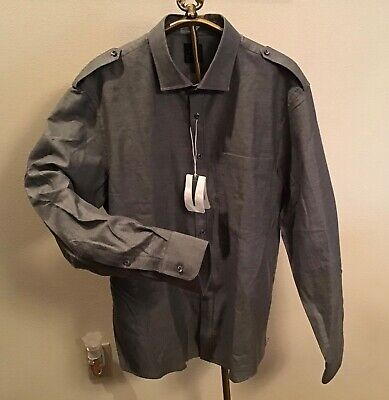 $195 New with Tags, Kent & Curwen England Handsome GRAY Long Sleeve Shirt XXL