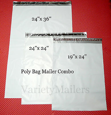 30 X-large Poly Bag Mailer Variety Pack 19x24 24x24 24x36 Shipping Envelopes