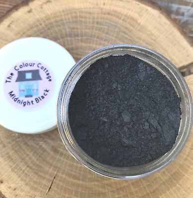 Mica Powder 1oz Jar Midnight Black Shimmer Pigment for Epoxy Resin, Cosmetics