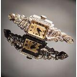 Vintage 14K White Gold & Diamond 17 Jewel Croton Watch