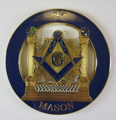 Auto Emblem Blue Lodge Pillars Cut Out Metal Enamel Freemason Mason Masonic