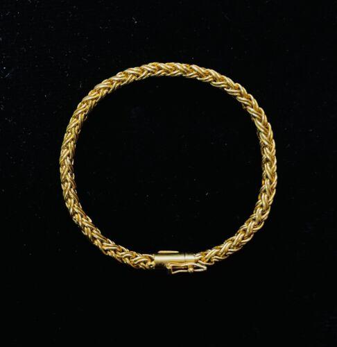 """Tiffany & Co. 18K Yellow Gold Russian Weave Wheat Link Bracelet 7.5"""""""