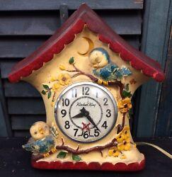 Rare HTF Vintage Kitchen King Blue Bird House Chalk Ware Electric Kitchen Clock