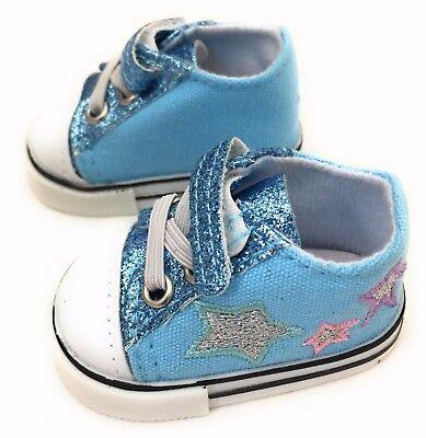 Lt Blue Glitter & Stars Tennis Shoes Sneakers for 18