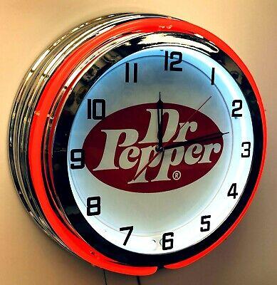 "19"" Dr Pepper Vintage Logo Sign Double Neon Red Neon Clock Mancave Bar Garage"