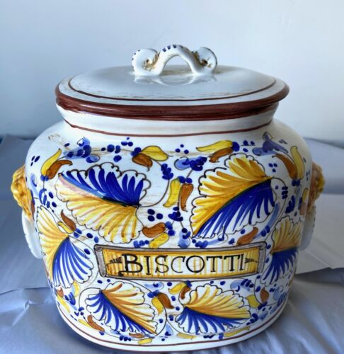 "FRATELLI MARI DERUTA Pottery Italy BISCOTTI COOKIE JAR 9"" Tall 11"" Wide"