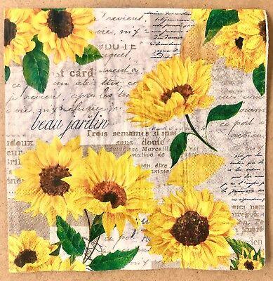 1 single Decoupage Dinner Napkin Fall Sunflowers Floral Autumn Blooms