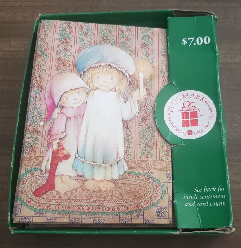 Vtg American Greetings Christmas Cards Little Girls Nightgowns Nightcaps