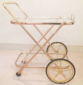 Brass Bar Cart Drink Trolley Hollywood Regency style side table Milsons Point North Sydney Area Preview