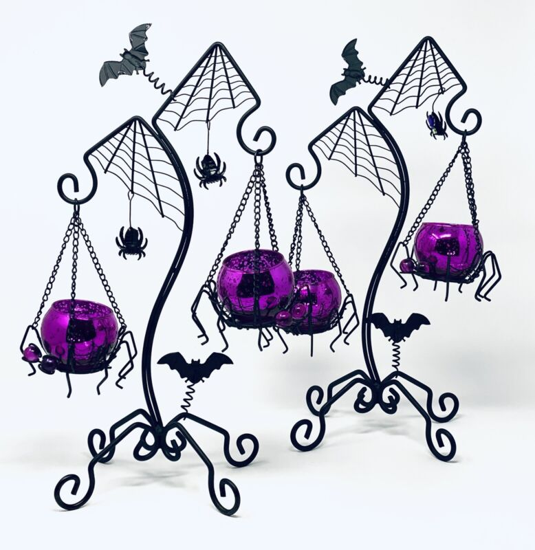 Halloween Pair of Spider Candelabras Spooky Purple Bugs Votive Candle Holders