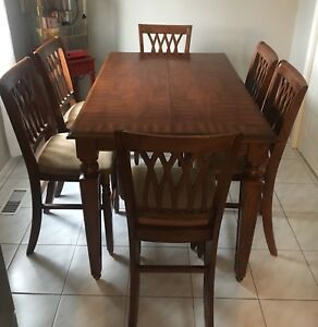 Counter Height Solid Wood Dining Set - 8 chairs