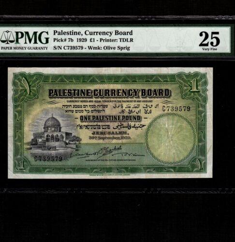 Palestine 1 Pound 1929 P-7b * PMG VF 25, 1 ph * Rare *