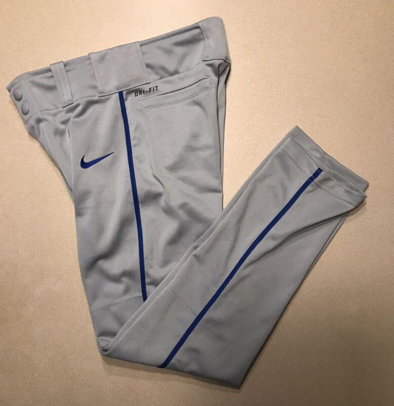 Nike Boys Swoosh Dri-fit Baseball Pants Gray (Royal Blue Piping) NEW M Medium