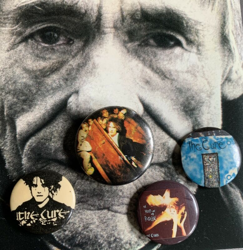 The CURE Vintage Buttons Head on the Door Robert Smith Set of 4