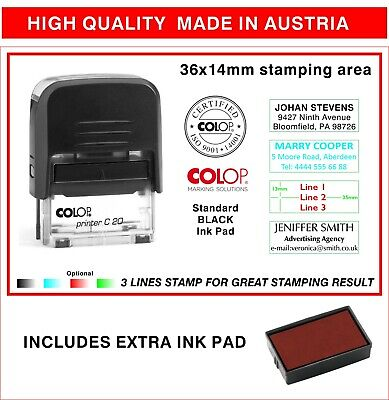 Colop Self Inking Rubber Stamp Personal 3 Line Return Adress Custom-free Stamp