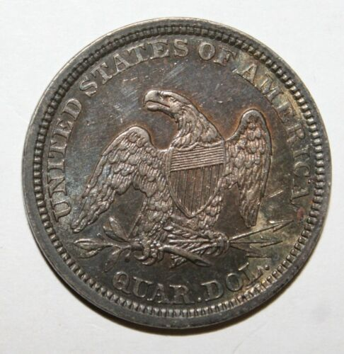 1861 ~ 25c Liberty Seated Quarter ~ Nice AU Civil War Coin ~ Almost Uncirculated