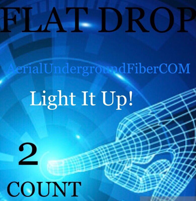 2000' 2 Count Strand Singlemode Flat Drop Fiber Cable ADSS FTTH FTTP No Tracer