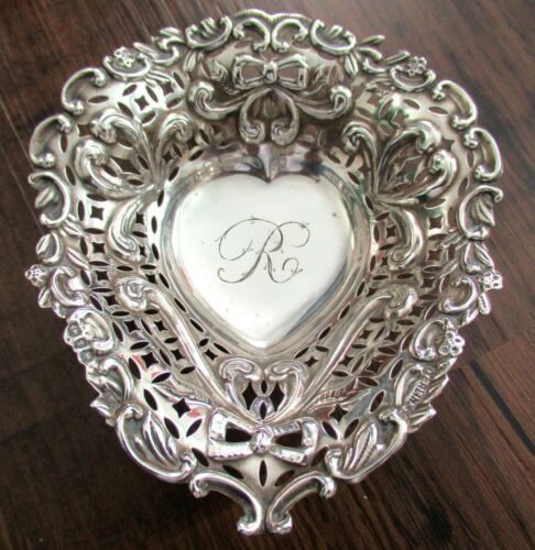 (2) Antique Levi & Salaman Sterling Silver Heart Candy Dish Nut Trinket Bon 925