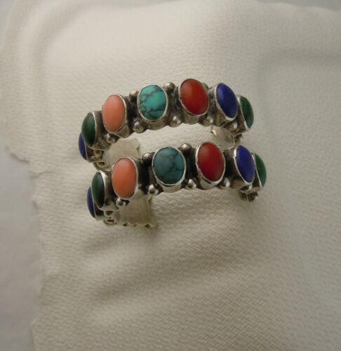 Vintage Navajo Sterling Silver Multi Gemstone Half Hoop Earrings 15 g Pierced