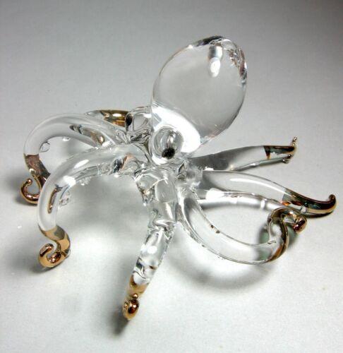 Octopus Figurine Handmade Blown ART GLASS gild fish GIFT - CUTE decoration