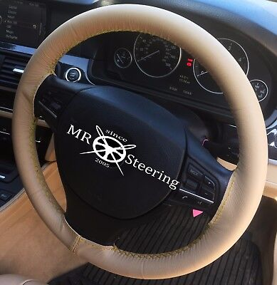 PERFORATED LEATHER STEERING WHEEL COVER FOR VAUXHALL VECTRA B ORANGE DOUBLE STCH