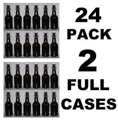 BEER BOTTLES 24 EZ CAP AMBER GLASS SWING-TOP SODA 16oz FLIP TOP EZCAP GROLSCH (Glass Amber Beer Bottles)