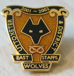 WOLVERHAMPTON-WANDERERS-Rare-2001-02-UTTOXETER-DISTRICT-SUPPORTERS-CLUB-Badge