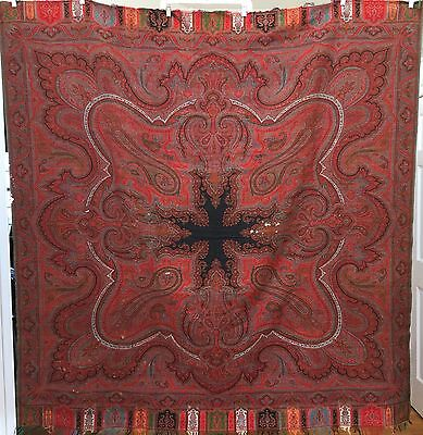 "ANTIQUE SCOTTISH PAISLEY SHAWL SCARF WITH 8 POINT STAR  68""x 67"""