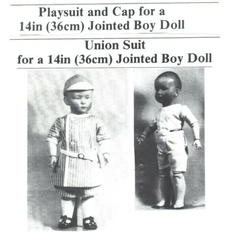 1910 PLAYSUIT & CAP + UNION SUIT PATTERN FOR 14 IN.COMPOSITION DOLLS (NO DOLL)