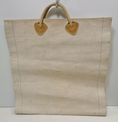 Vintage LL Bean Firewood Carrier Wood Log Canvas Tote Leather Handles