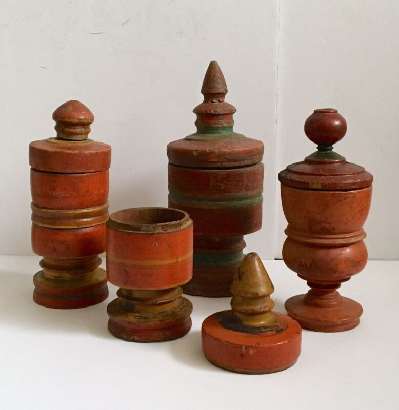 Antique Round Wooden Handcrafted Boxes Set 4
