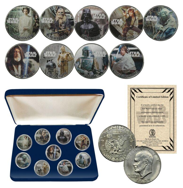 STAR WARS Genuine 1977 Eisenhower Dollar 9-Coin Set w/ BOX - OFFICIALLY LICENSED