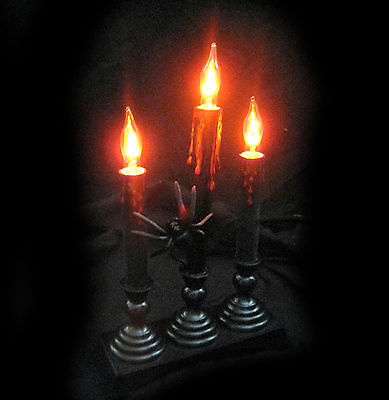 Lighted Candelabra  with Spider Haunted House Halloween Party Prop 12""