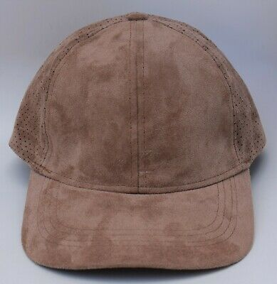 Zara Man Faux Suede Baseball Cap Hat Adjustable Strapback Mesh-Back Tan