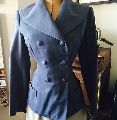 1940s Original Wedgwood Blue Gabardine Bespoke Tailored  Dramatic  Jacket M UK12