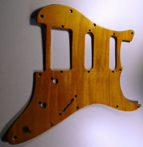 NEW PICKGUARD STRATOCASTER HSS - hand made - wood polish - for guitar strat