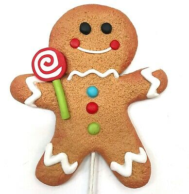 Gingerbread Man Cookie Red Lollipop Christmas Ornament Pick Wreath Decor Candy R ()