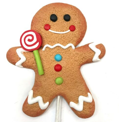 Gingerbread Man Cookie Red Lollipop Christmas Ornament Pick Wreath Decor Candy R