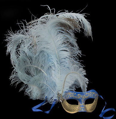 Mask Venice Colombine Feathers ostrich blue golden paper mache 22426