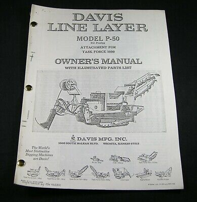 Case Davis P50 Line Layer Attachment Task Force Trencher 1000 Parts Owner Manual