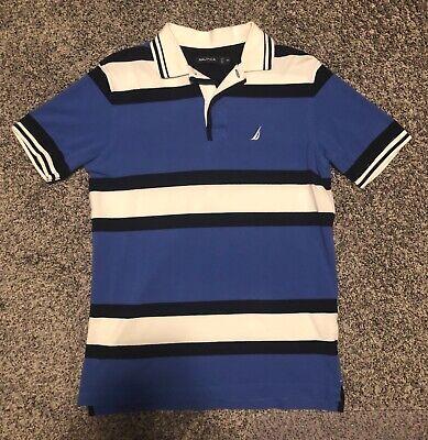 Nautica Striped Short Sleeve Polo Mens XS Extra Small Blue White Black