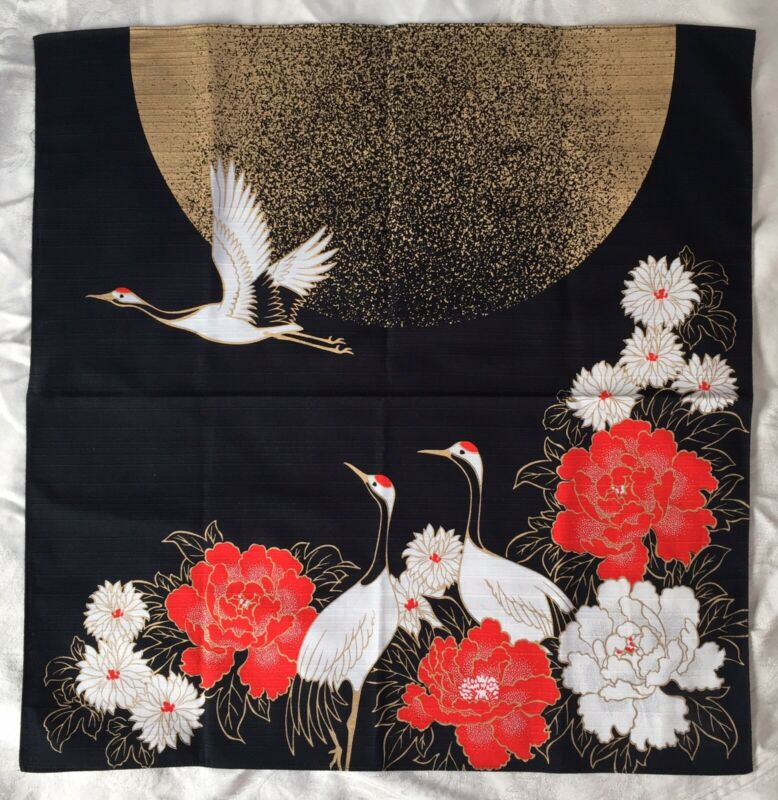 Beautiful Japanese Fabric Wall Hanging Cranes & Moon, Gold, Red, Black White NEW