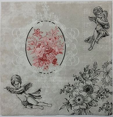 VINTAGE CHERUBS & FLOWERS 2 single LUNCH SIZE paper napkins for decoupage 3-ply