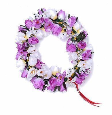 Hawaiian Lei Party Luau Headband Haku Elastic Flower Tuberose Purple - Purple Leis