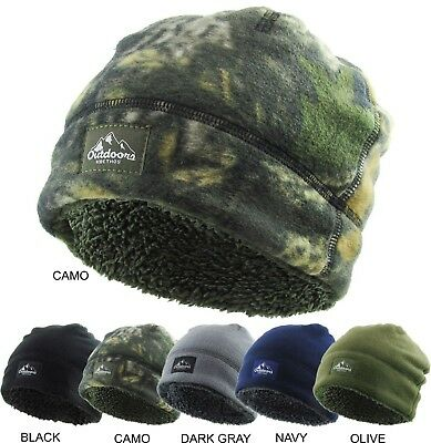 Fleece Beanie Sherpa Fleece Lined hat Cap Winter Cold Camo Solid
